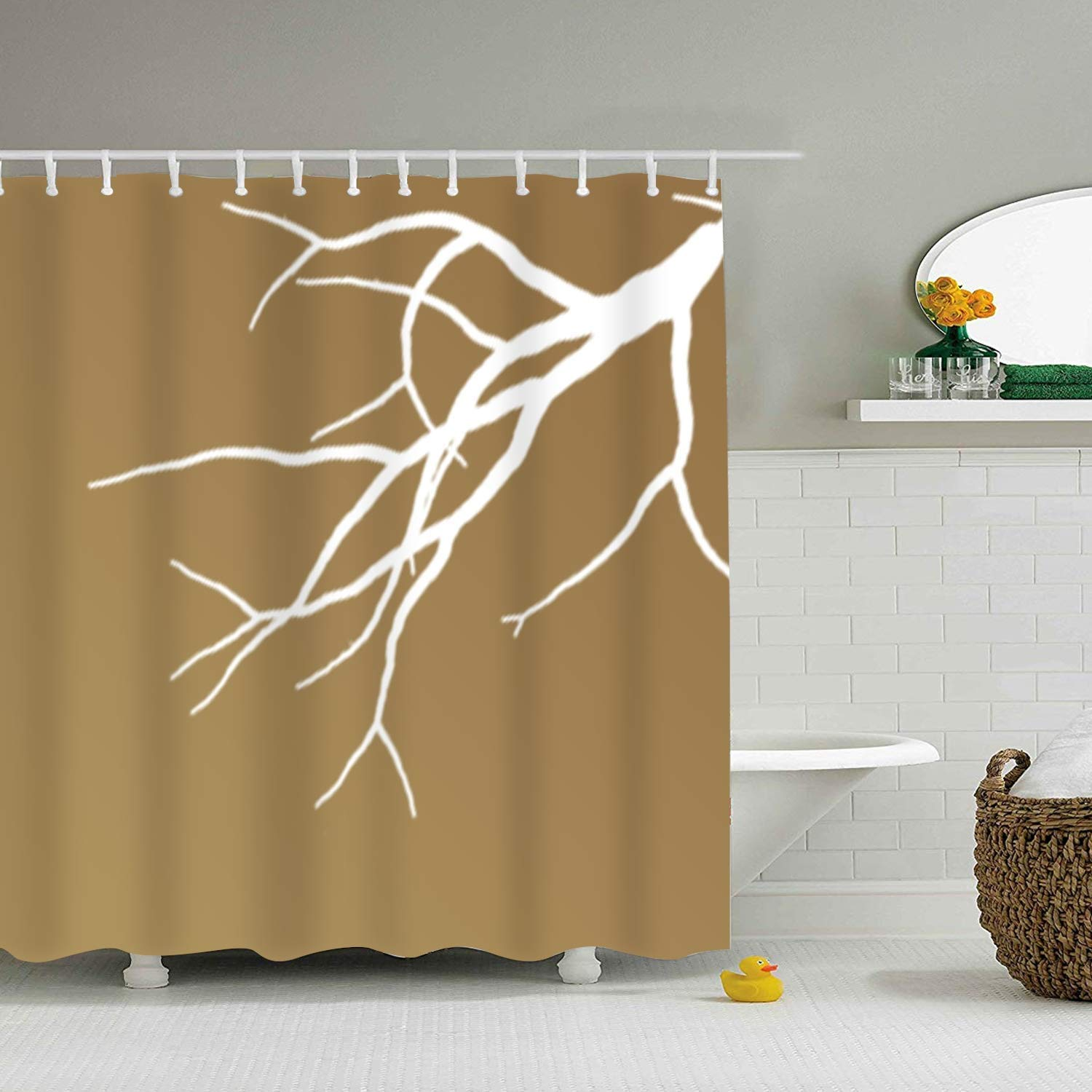 Amazon Dongingp Thin Split Branch Polyester Fabric Waterproof Shower Curtain Sets With Hooks Creative Bathroom Gift For Family Home