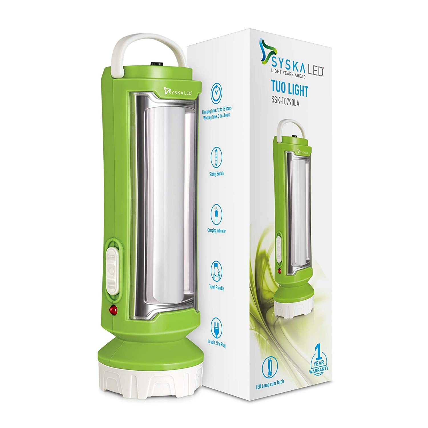 Syska T0790LA Tuo Portable Rechargeable Led Lamp Cum Torch with Upto 4hrs Backup (Green-White)