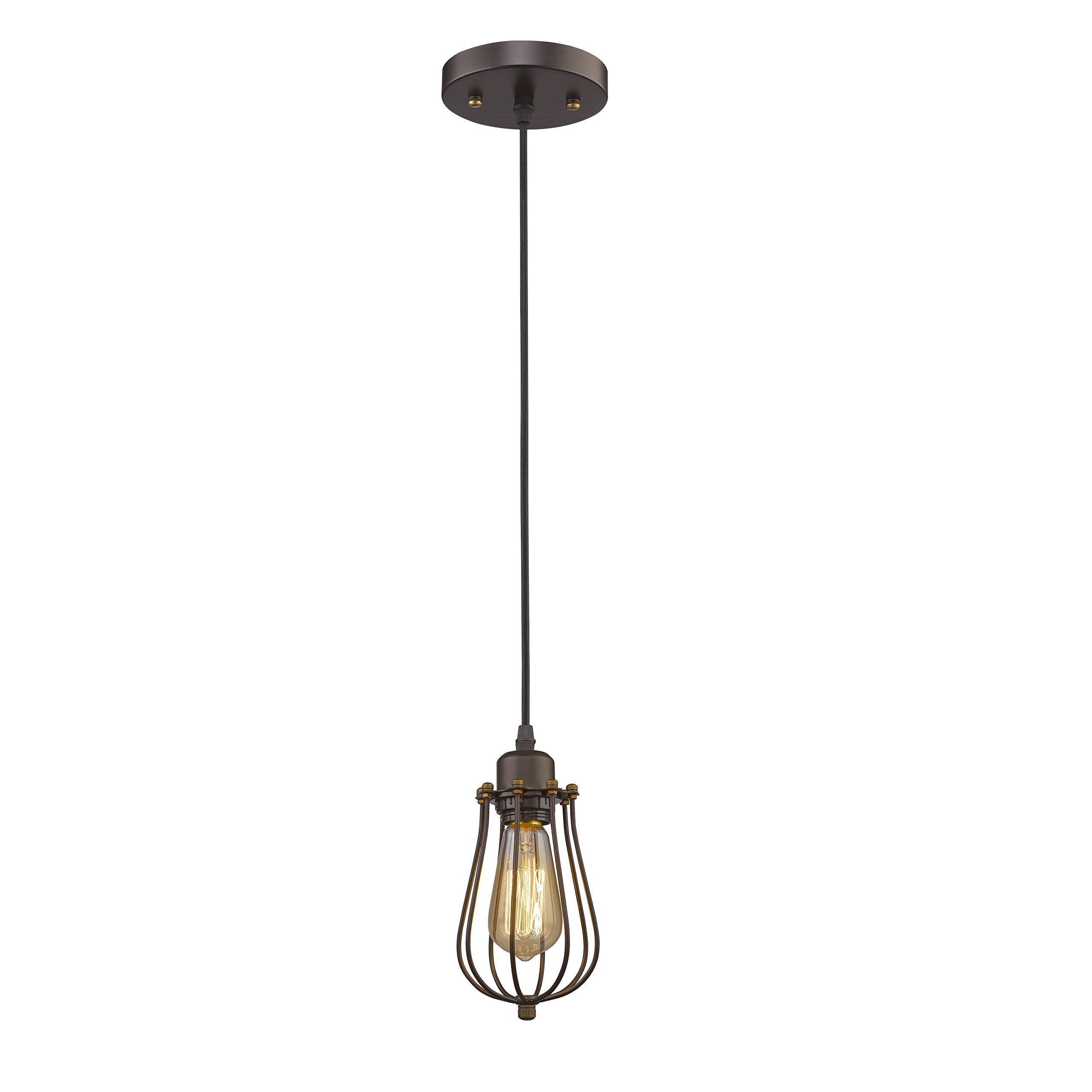MICSIU Antique Industrial Pendant Light Hanging Caged Pendant Light Fixture with Edison 60W ST58 Bulb for Home, Restaurant, café, Bar. Kitchen.