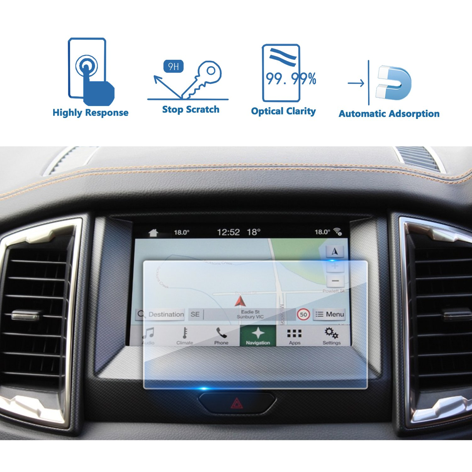LFOTPP 2016 2017 2018 Ford Everest sync 2 sync3 Car Navigation Tempered  Glass Screen Protector, Center Touch Protective Film, High Clarity &