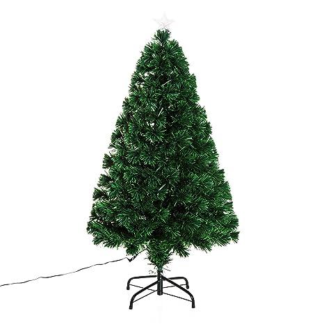 HOMCOM LED Weihnachtsbaum künstlicher Christbaum Tannenbaum Baum mit Metallständer, Glasfaser-Farbwechsler, grün, 120 cm