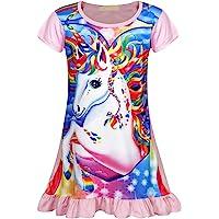 AmzBarley Camisón de Algodón Pijama Niña Unicornio Chica Manga Larga Vestido Fiesta Entero una Pieza Ropa de Dormir…