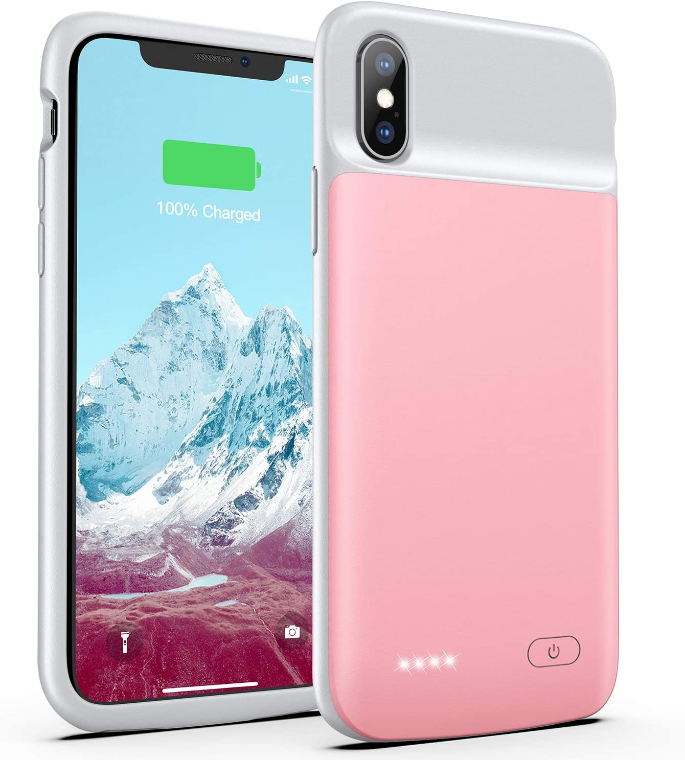 External Charger Case 6.5 inch Rose Gold Battery Charger Case for iPhone Xs Max 6000mAh Rechargeable AEDLYK Portable Ultra-Slim Protective Charging Case Compatible with iPhone Xs Max