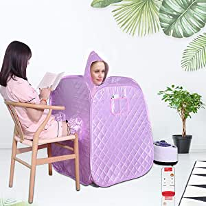 Two Person Portable Steam Sauna Spa Folding Tent Intelligent Remote Control 1000W 2L Home Therapeutic Sauna Spa Machine for Weight Loss Detox Relaxation Slimming