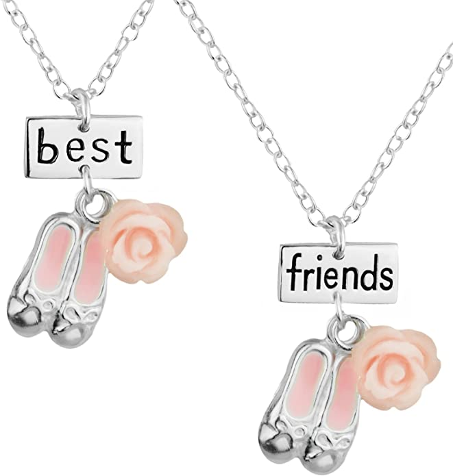 Best Friends Necklace for 2: .925 Sterling Silver Pink Ballet Slippers Best Friends Necklace Set