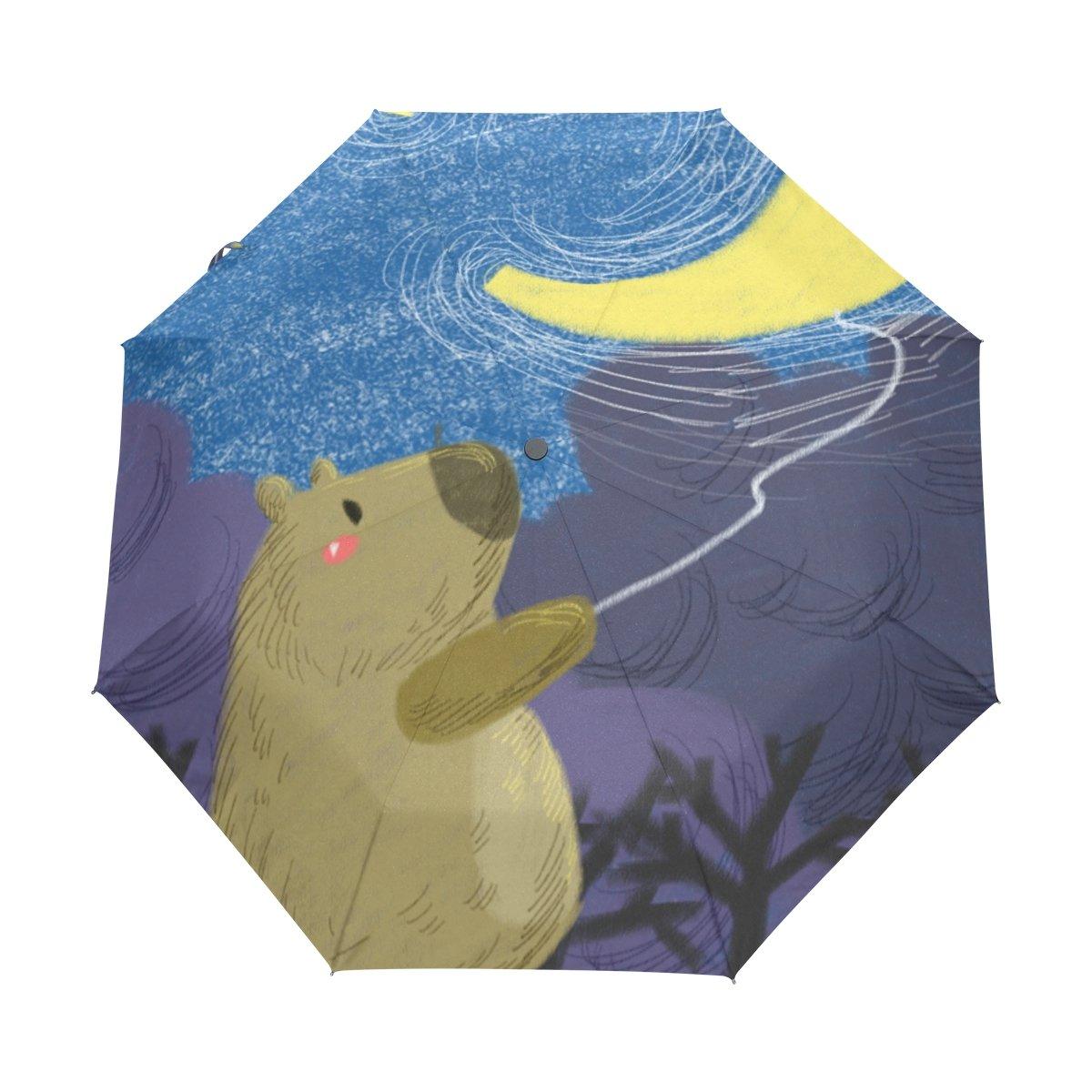 Senya Saobao防風と防雨トラベル傘with自動開いて閉じFolding Bear and Moonポータブル折りたたみ式太陽雨傘 B07FFNTY3S