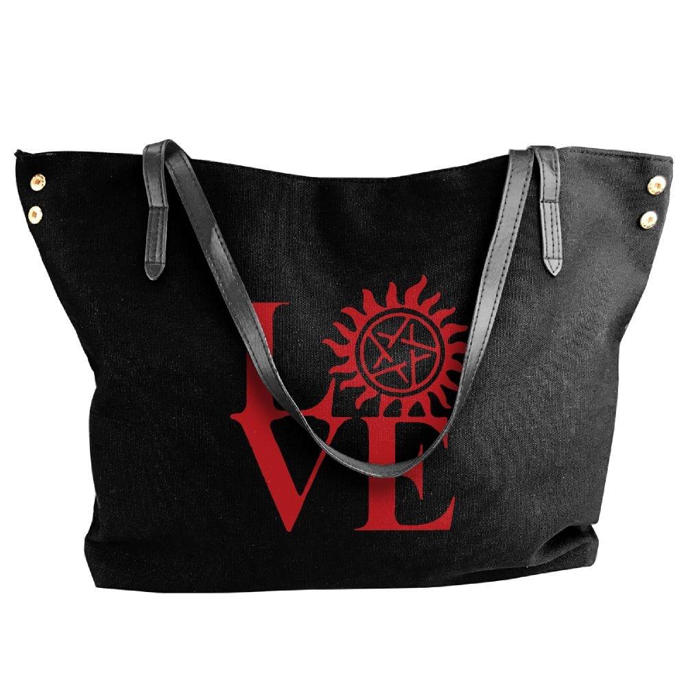 Cotyou-6 Women's Canvas Large Tote Shoulder Handbag Love Supernatural Messenger Hobo Bag Tote