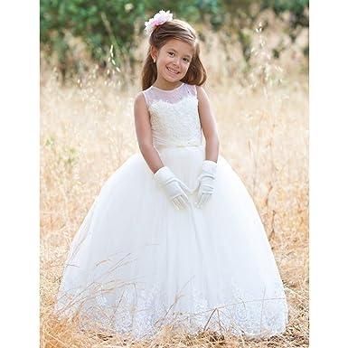 25dfbb0e502 TriumphDress Little Girls Ivory Illusion Lace Crystal Flower Girl Dress 4-5