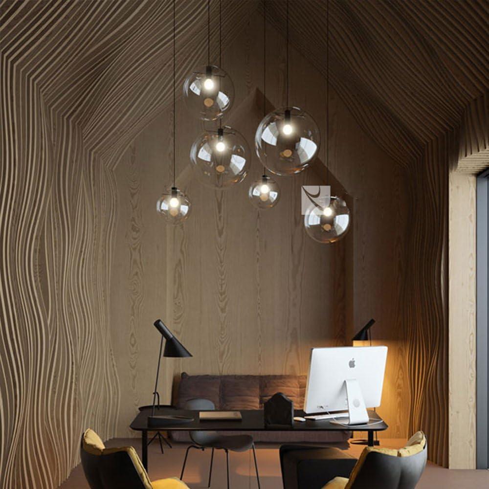 mzstech - Classico a forma di palla di vetro appeso brillante creativo singolo helles principale lampade in vetro della tinta Retro (25cm) 20cm