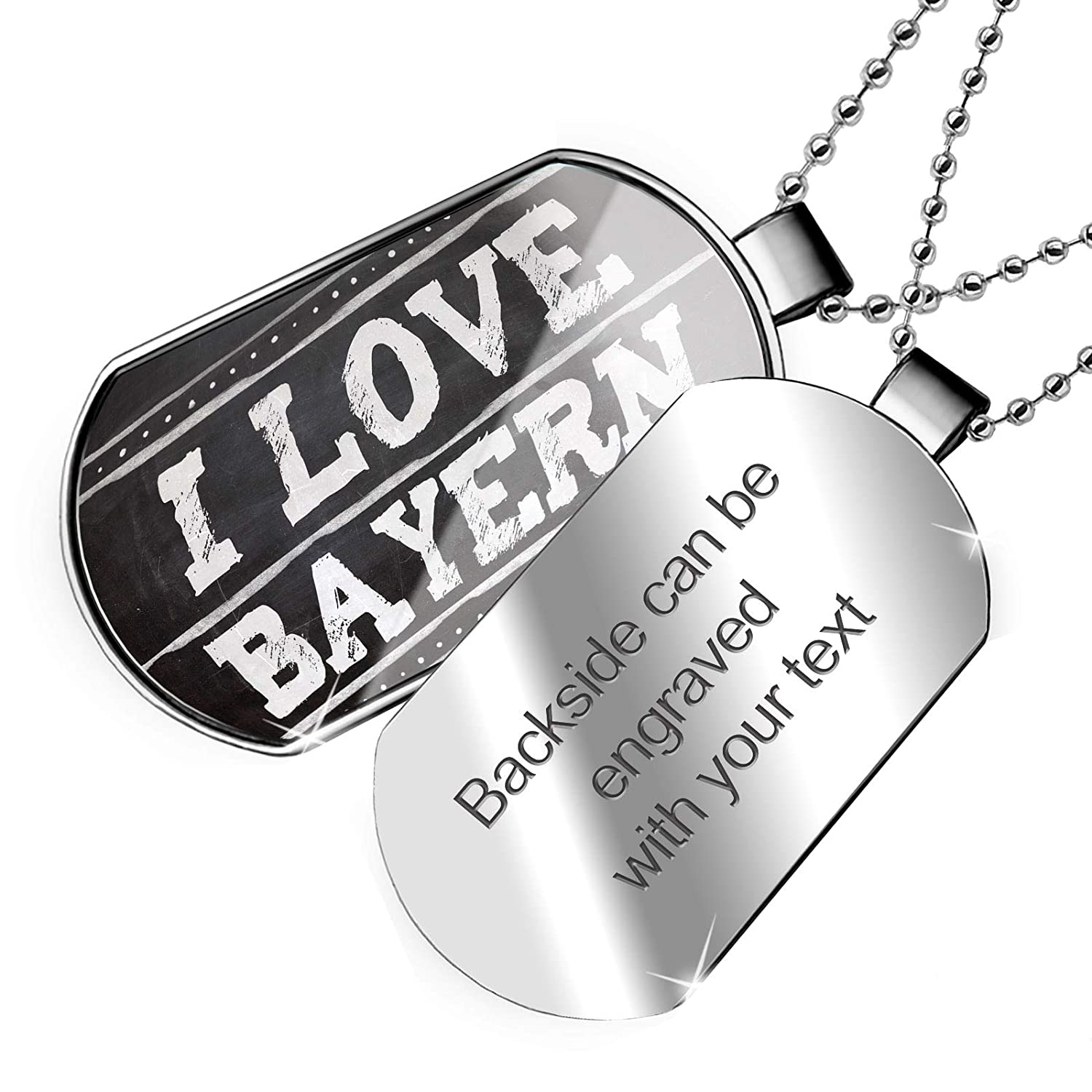 NEONBLOND Personalized Name Engraved Chalkboard with I Love Bayern Dogtag Necklace