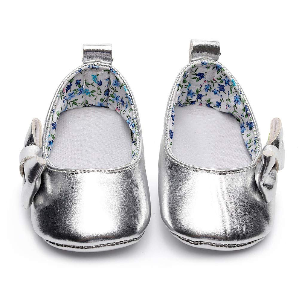 Lanhui Newborn Single Shoes Toddler Baby Girls Shallow Bowknot First Walkers Soft Sole Silver by Lanhui (Image #2)
