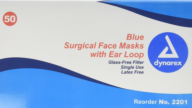Dynarex Disposable Ear Loop Face Mask, Blue, 200 Count