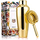 Homestia Golden Stainless Steel French Martini Cocktail Shaker and Strainer Set 18.6oz