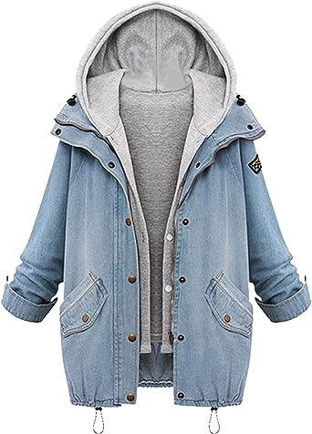 Jeansjacke Denim Hoodie Herbst Minetom Outwear 1 Wintermantel Damen 2 Kurzjacke Freizeit Parka In vN80wOnm