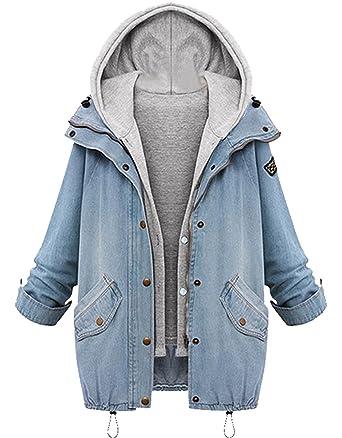 Minetom Damen Herbst Jeansjacke Wintermantel Denim 2 in 1 Kurzjacke  Freizeit Hoodie Parka Outwear  Amazon.de  Bekleidung c3cea2a091