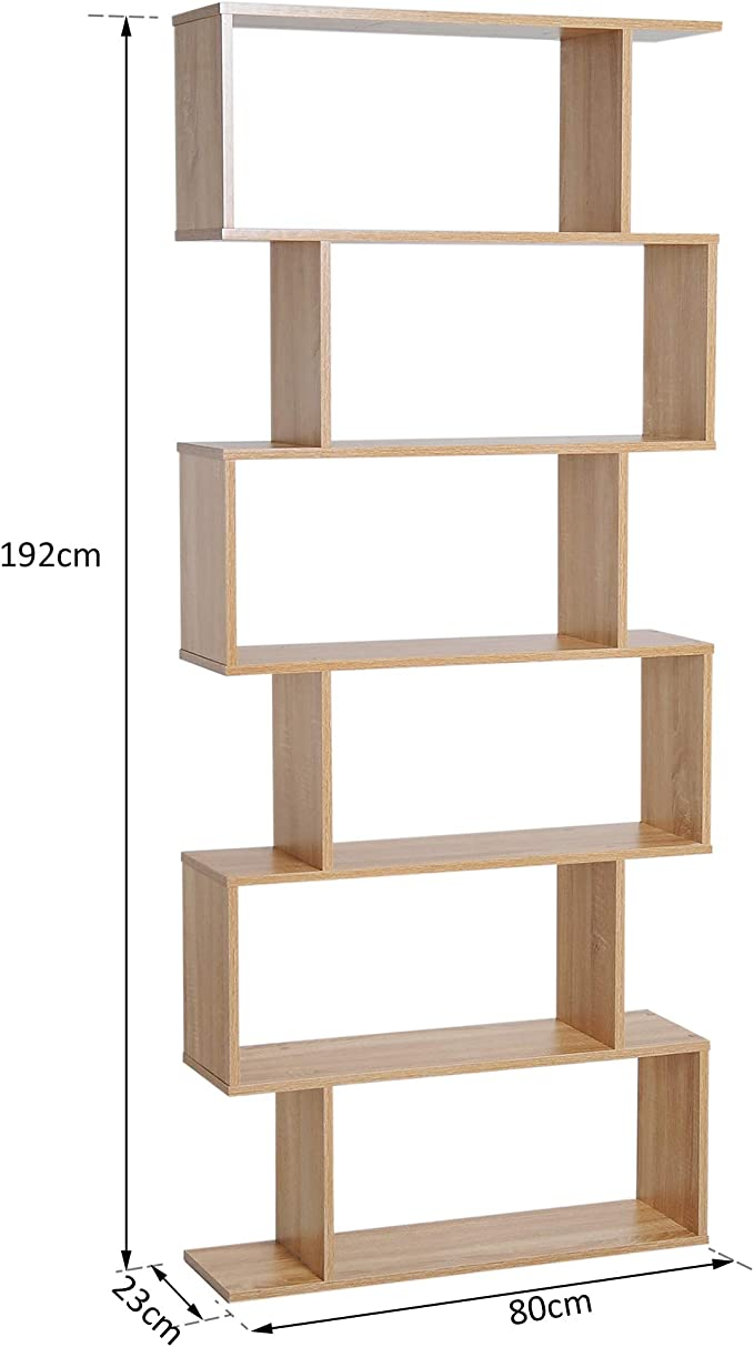 HOMCOM Bücherregal mit 5 Fächer Standregal Eckbücherregal P2 Spanplatte Eiche