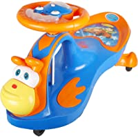 BabyGo Baby Monk Musical Magic Swing Car Ride On for Kids (Orange and Blue)