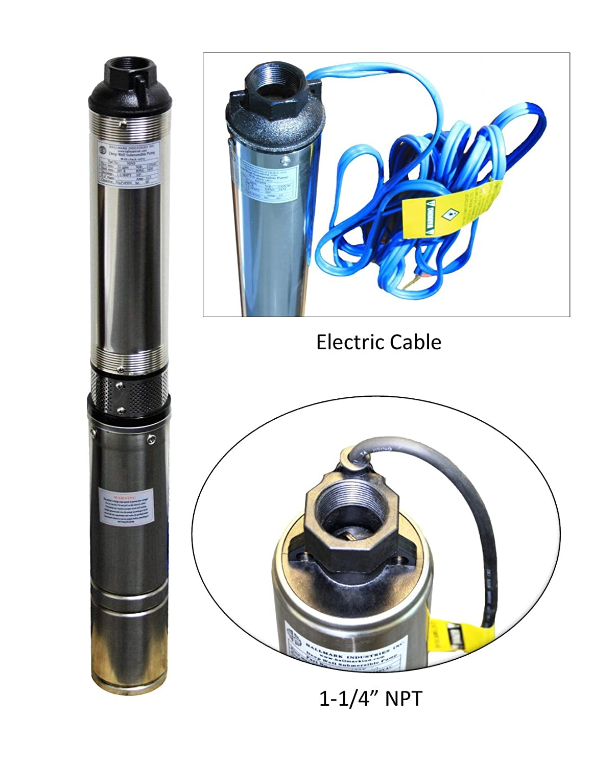 "Hallmark Industries MA0343X-4A Deep Well Submersible Pump, 1/2 hp, 230V, 60  Hz, 25 GPM, 150' Head, Stainless Steel, 4"": Amazon.com: Industrial &  Scientific"