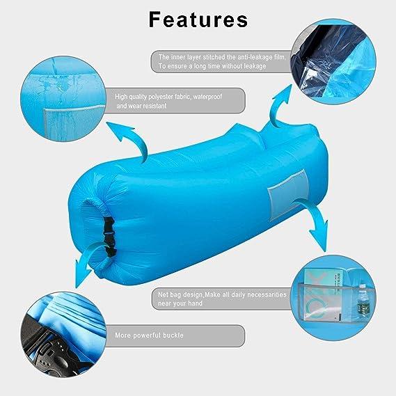 icefox Impermeable Inflable Sofá de Aire Transportable Air Lounger con Bolsa de Transporte para Dormir al Aire Libre, Interior, para Dormir y Relajar, ...