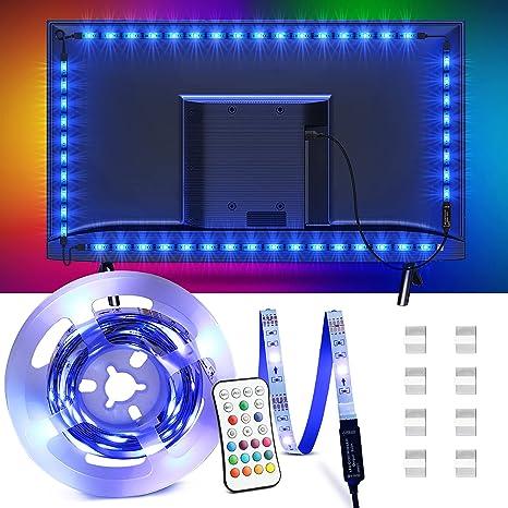 Luci LED per TV 32-55 Pollici Besvic Musica Sync RGB LED Striscia con Telecomando USB Striscia LED TV Retroilluminazione 2M 16 Colori e 4 Modalit/à Dimmerabile Strisce LED Strip per PC Monitor