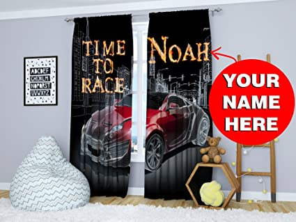 Factory4me Black Curtains For Boys Room Red Car Personalized Custom Window  Panels With Your Name 2 Set Teenage Bedroom 84 Inches Kids Junior Funny ...