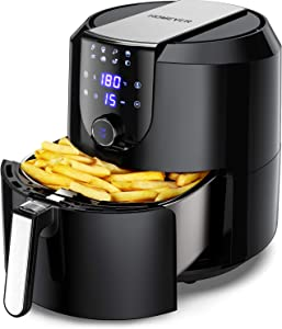 HOMEVER 5.8-Quart Programmable Air Fryer, Electric Hot Air Fryers Oilless Cooker with 10 Presets, Digital LCD Touch Screen, Nonstick Basket, 1700W, UL Listed