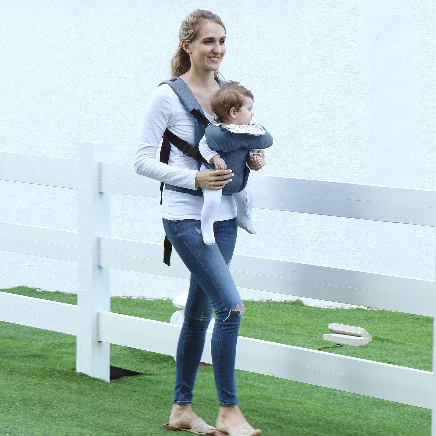 Soft Baby Carrier 4-in-1 Ergonomic Convertible Carrier with Adjustable Straps and Breathable Mesh Dad Baby Carrier Blue
