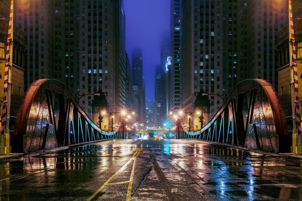 Clark Street Bridge Chicago Illinois at Night Photo Photograph Cool Wall Decor Art Print Poster 36x24