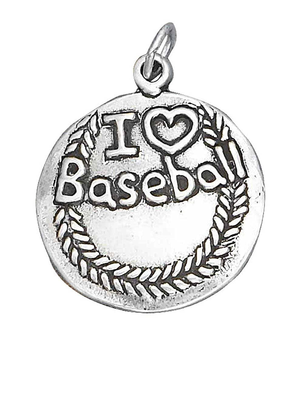 Sterling Silver 7 4.5mm Charm Bracelet With AttachedI LOVE BASEBALL Sports Word Charm