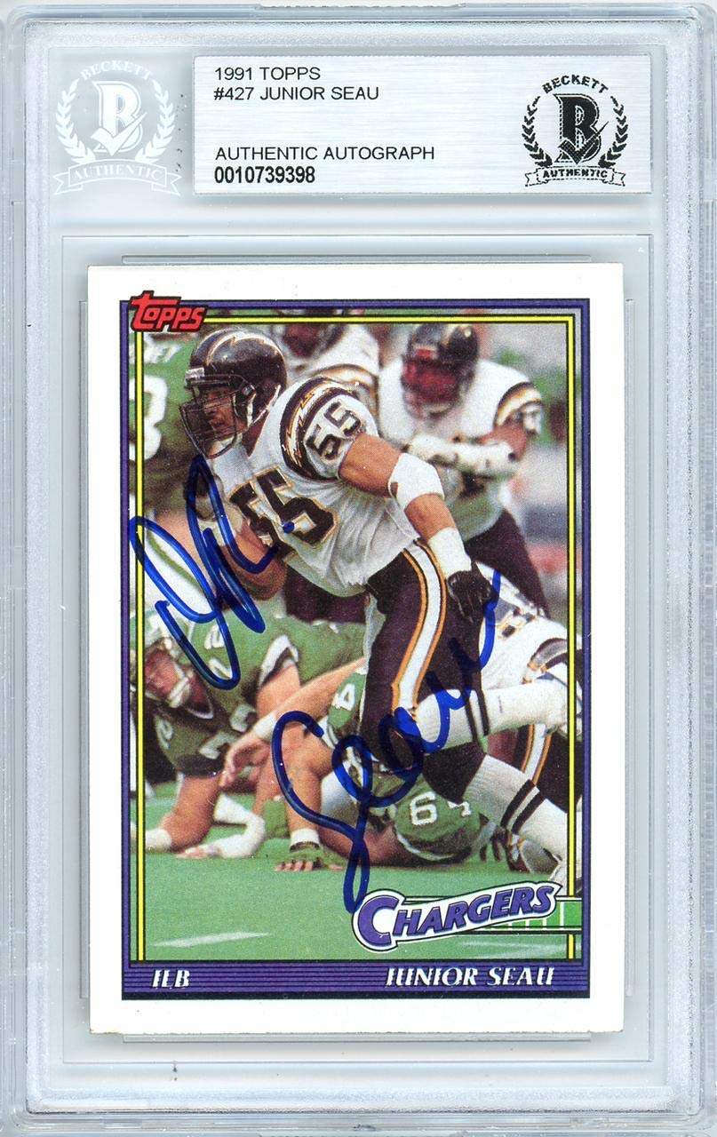 aee7094e Junior Seau Autographed 1991 Topps Card #427 San Diego Chargers ...