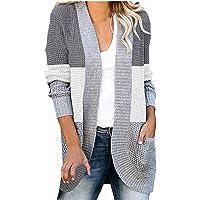 Darringls Gebreid vest voor dames, grof gebreid, casual, cardigan, lange mouwen, effen kleur, cardigan, mantel…