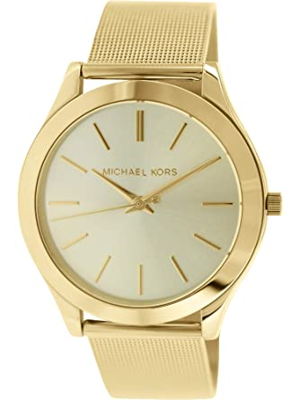 8e1c0e438dc6 Image Unavailable. Image not available for. Color  Michael Kors MK3282 Slim  Runway Champagne Dial Gold-tone Mesh Women s Watch