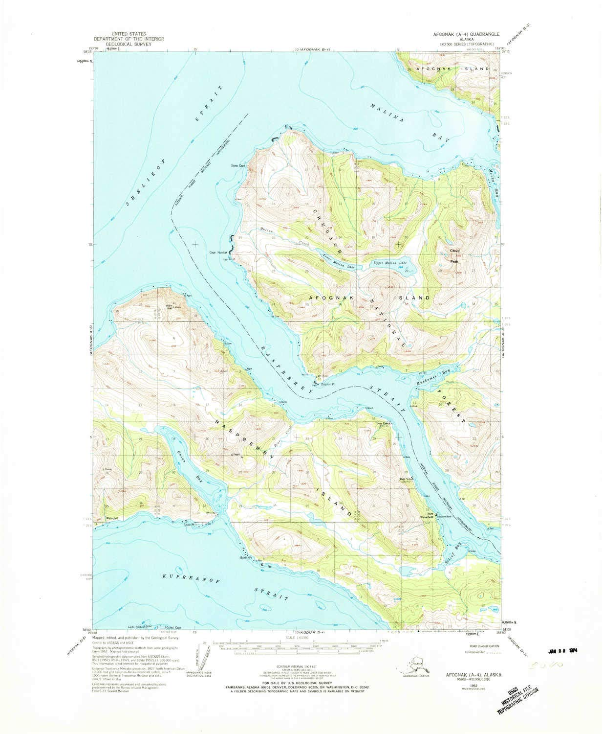 YellowMaps Afognak A 4 AK topo map, 1:63360 Scale, 15 X 15 Minute, Historical, 1952, Updated 1974, 22 x 18.1 in - Polypropylene by YellowMaps