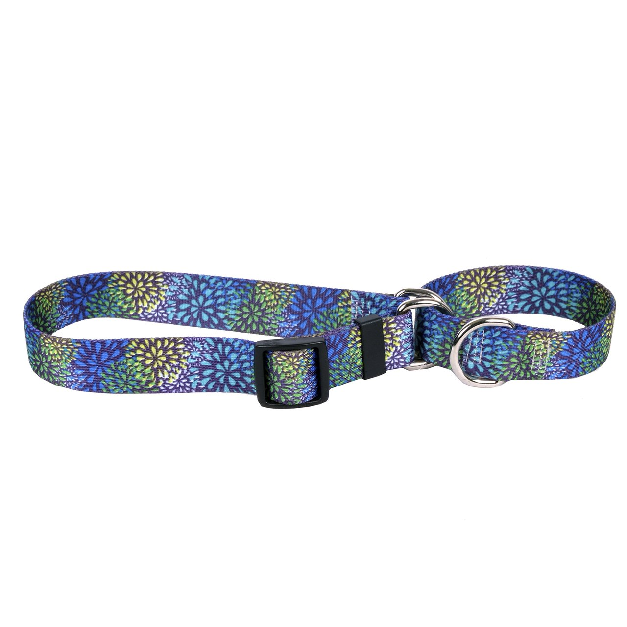 Yellow Dog Design Flower Works Blue Martingale Dog Collar 1'' Wide and Fits Neck 18 to 26'', Large