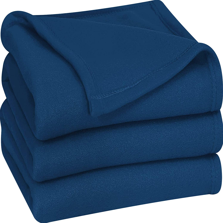 Utopia Bedding Fleece Blanket King Size Navy Soft Warm Bed Blanket Plush Blanket Microfiber