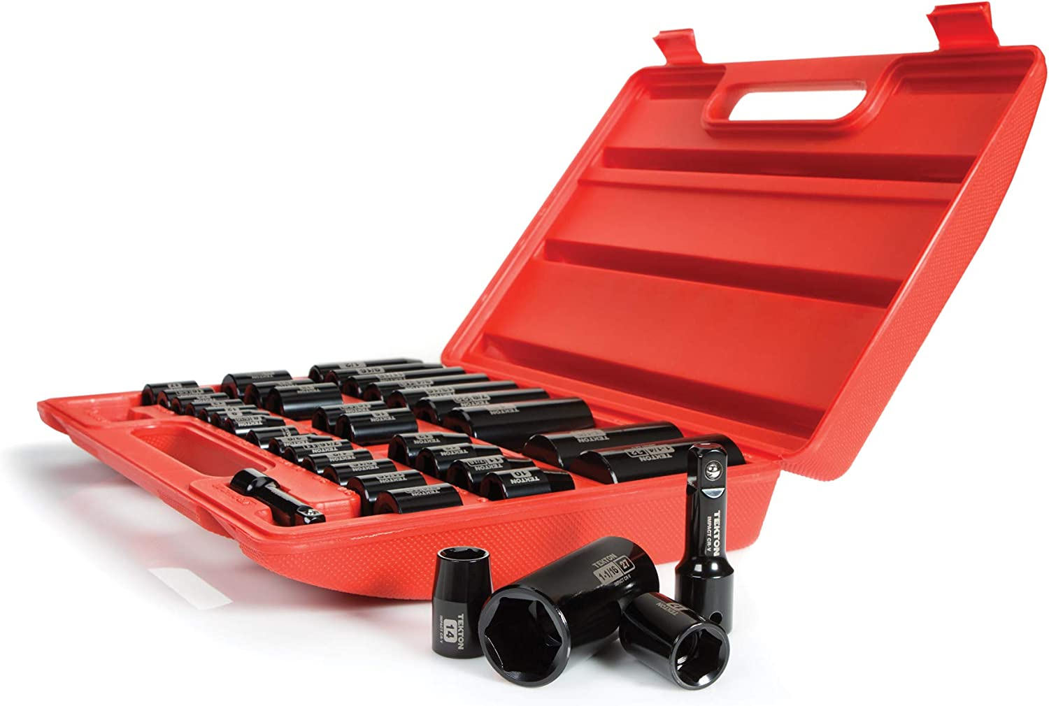 TEKTON 3/8, 1/2 Inch Drive 6-Point Impact Socket Set, 38-Piece