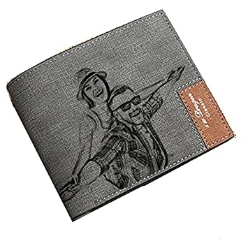 Carteras de fotos personalizadas Carteras de tarjetas de crédito para hombres Monedero de Bifold para regalo de novio de padres: Amazon.es: Equipaje