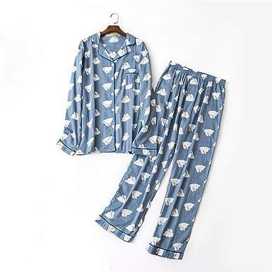 2d6533b2c0b3 Thadensama Male 100% Gauze Cotton Soft Pajama Sets Casual Blue Cartoon Plus  Size Pyjamas Sets