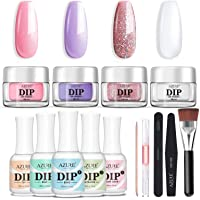 Nail Dipping Powder Starter Kit 4 Colors(1oz.),French Dip Acrylic Nails Powders System(Comes with Bond,Base,Activator…