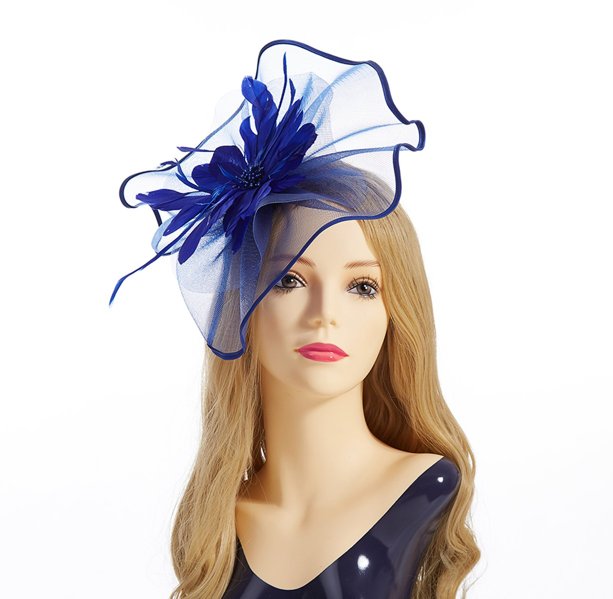 Fascinator Hat,Aiskki Fascinator Headband Feather Mesh Net Hat With Hairband,Tea Party Headwear,Flower Derby Hat with Clip,Kentucky Derby Hats for Women(Blue)
