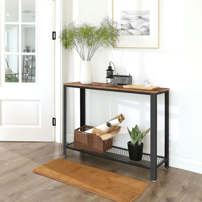VASAGLE Vintage Mesa de Consola, Mesa de Entrada, Mesa Auxiliar para Salón, Dormitorio, Montaje fácil, Rústica LNT80X