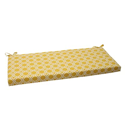 "Pillow Perfect Outdoor/Indoor Rossmere Sunshine Bench/Swing Cushion, 45"" x 18"", Yellow: Home & Kitchen"