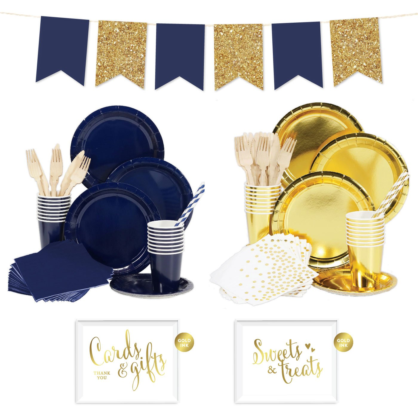 Andaz Press Complete 140-Piece Tableware Kit for 16 Guests, Navy Blue and Gold, Includes Plates, Cups, Napkins, Spoons, Forks, Straws, Party Signs, Hanging Pennant Banner Decorations, 1-Set