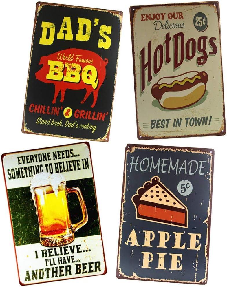 Yunuo Dad's BBQ Metal Signs Plaque Apple Pie Snacks Bar Kitchen Restaurant Wall Tin Decor (D)