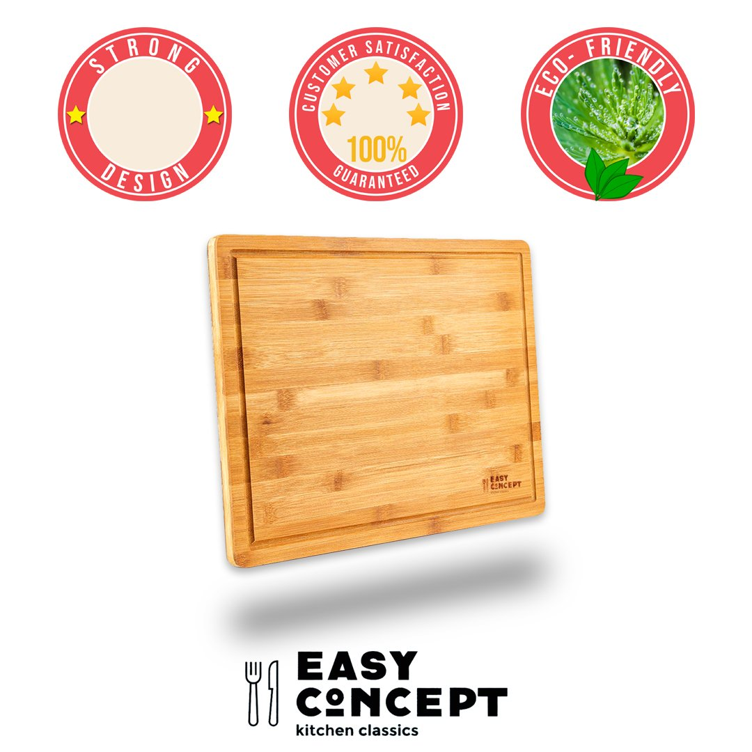 EXTRA LARGE Bamboo Cutting Board for Kitchen with Juice Groove - Thick, Non-Slip Laminated Layers for Meat Carving (Butcher Block) - Anti Microbial Chopping Board for Fruits, and Vegetables - 17x12.5