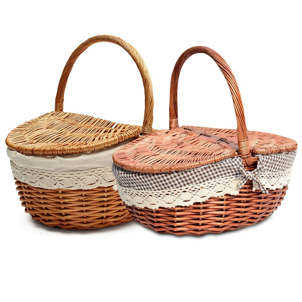Shopping Storage Hamper with Lid and Handle Wooden Color Wicker Picnic Basket Hand Made Wicker Basket Wicker Camping Picnic Basket