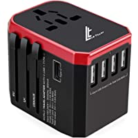 Universal Travel Adaptor 5.6A(MAX) - High Speed 2.4A - 4 USB and 1 Type-C for AU US EU UK - International Power Adapter…
