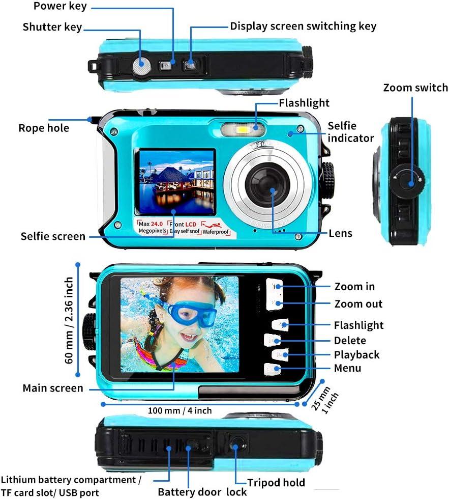 Waterproof Camera Underwater Camera for Snorkeling FHD 2.7K 48MP Selfie Dual Screen Waterproof Digital Camera Point /& Shoot Digital Camera