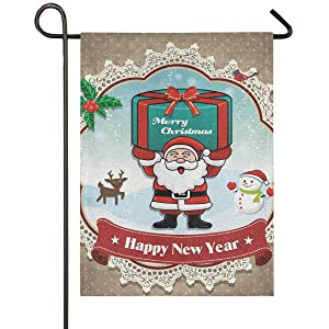 Christmas Santa Claus Burlap House Flag 28 x 40 Double Sided, Xmas Gift Deer Snowman Garden Yard Flags, Rustic Welcome Winter Outdoor Banner for Party Home Christmas Decorations