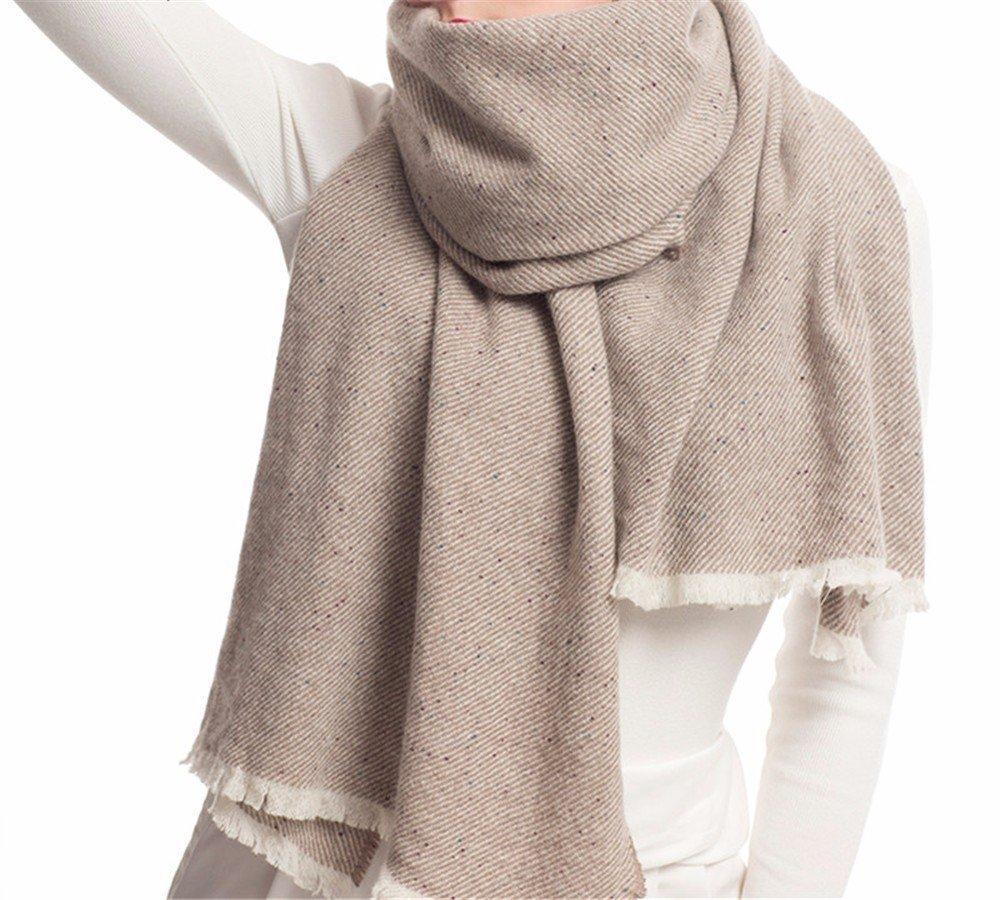 DIDIDD Bufanda-damas bufanda de lana de color negro de primavera e invierno cálido chal,B